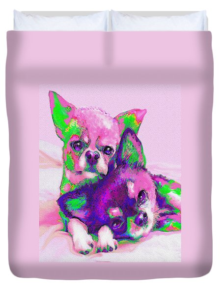 Duvet Cover featuring the digital art Chihuahua Love by Jane Schnetlage