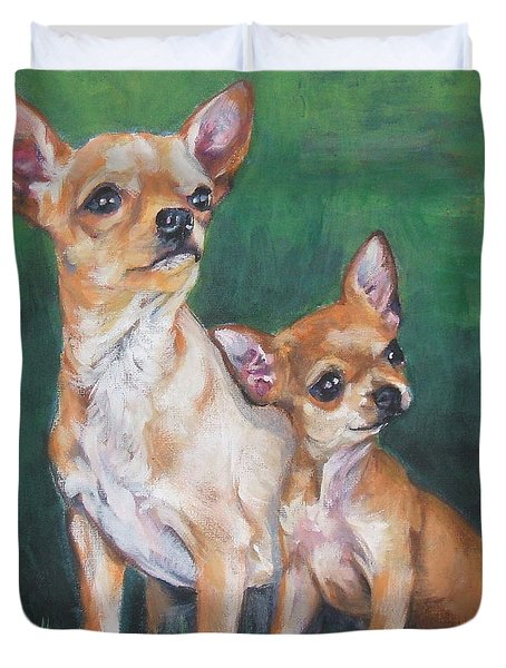 Chihuahua Mom And Pup Duvet Cover