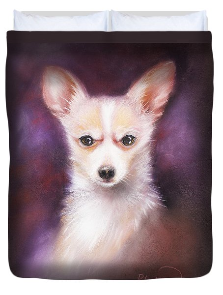 Duvet Cover featuring the drawing Chihuahua No. 1 by Patricia Lintner