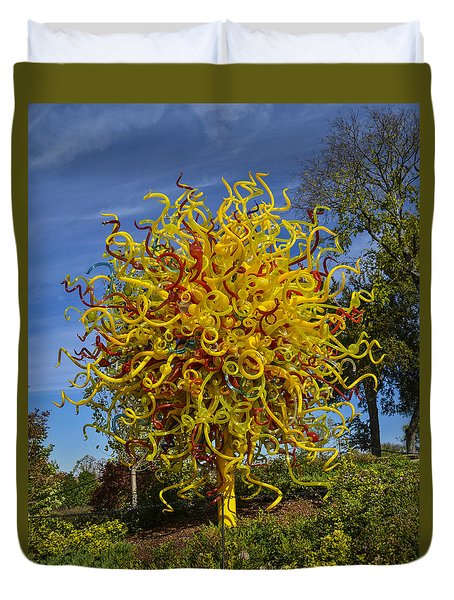 Chihuly - Sun Duvet Cover by Allen Sheffield