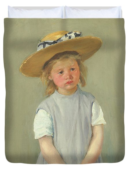 Duvet Cover featuring the painting Child In A Straw Hat By Mary Cassatt 1886 by Movie Poster Prints