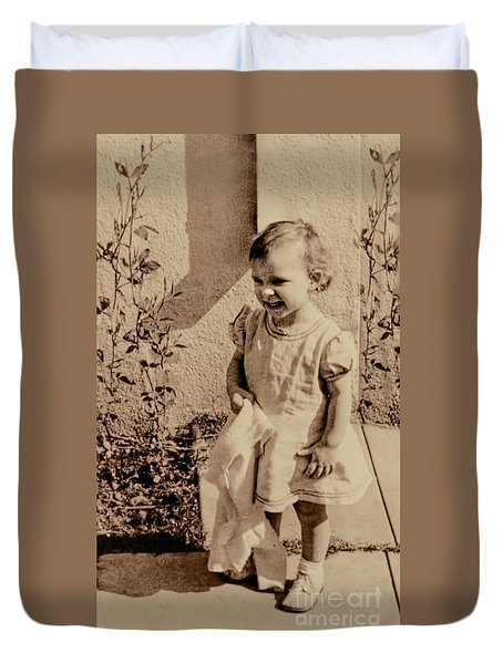 Duvet Cover featuring the photograph Child Of 1940s by Linda Phelps