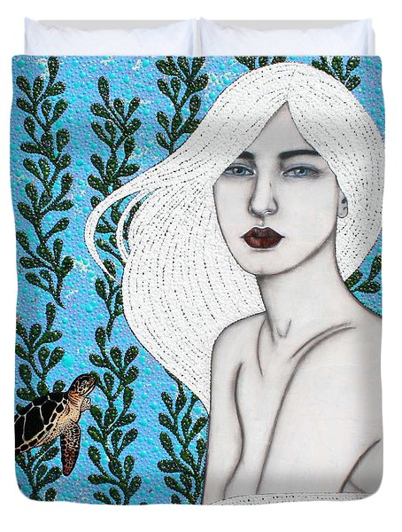 Duvet Cover featuring the mixed media Child Of The Ocean by Natalie Briney