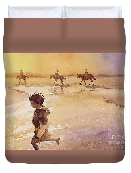 Duvet Cover featuring the painting Child On Beach- Ocracoke Island, Nc by Ryan Fox