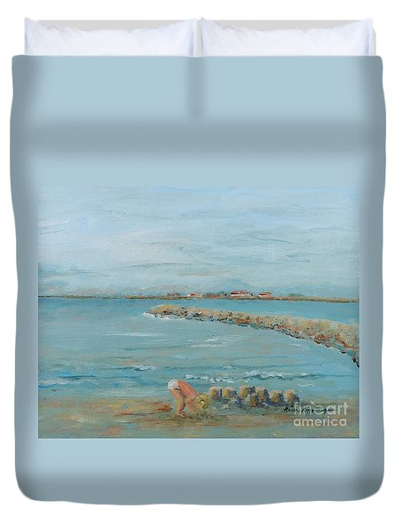 Child Playing At Provence Beach Duvet Cover by Nadine Rippelmeyer