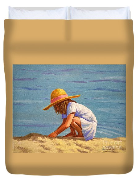 Child Playing In The Sand Duvet Cover
