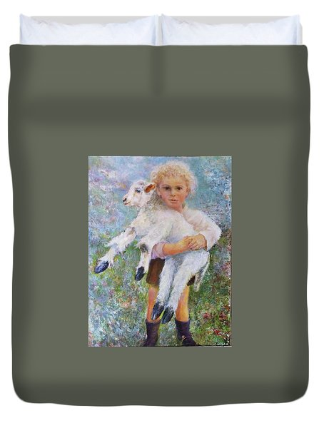 Child With A Lamb Duvet Cover