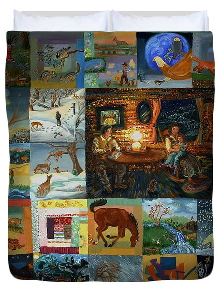 Duvet Cover featuring the painting Childhood Quilt by Dawn Senior-Trask