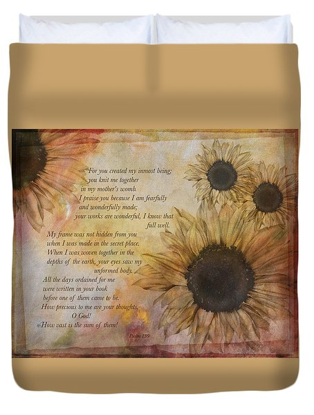 Duvet Cover featuring the photograph Children Are A Heritage Psalm 139 by Eleanor Abramson