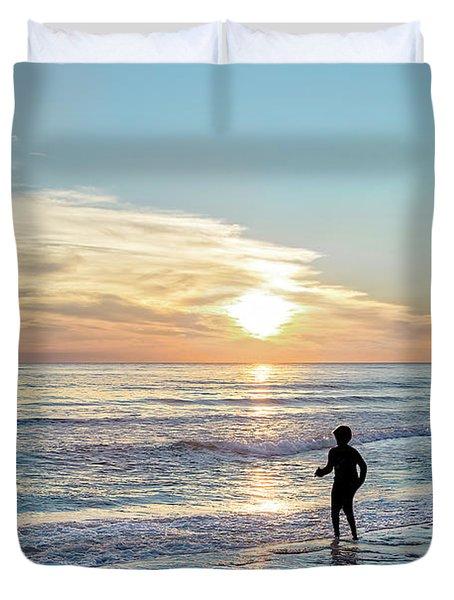 Children At Play On A Florida Beach  Duvet Cover