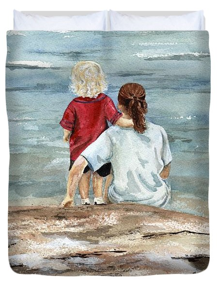 Children By The Sea  Duvet Cover