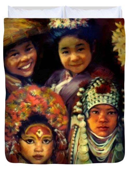 Children Of Asia Duvet Cover