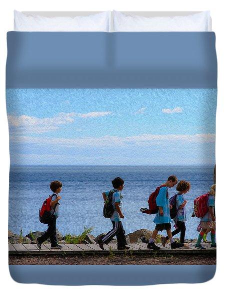 Children On Lake Walk Duvet Cover