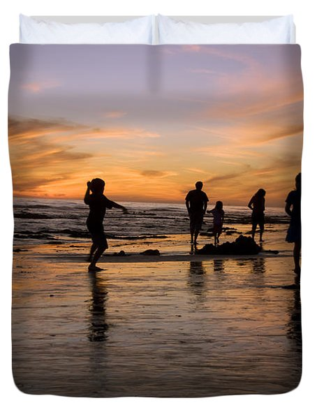 Children Playing On The Beach At Sunset Duvet Cover by James Forte