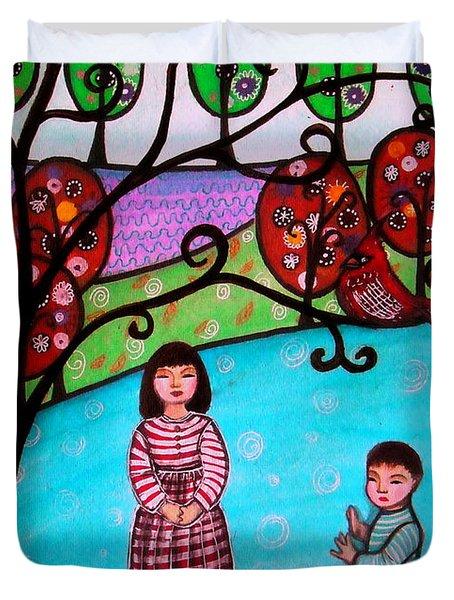 Children Playing Duvet Cover by Pristine Cartera Turkus