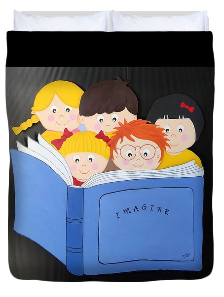 Children Reading Book Duvet Cover