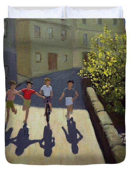 Children Running Duvet Cover by Andrew Macara