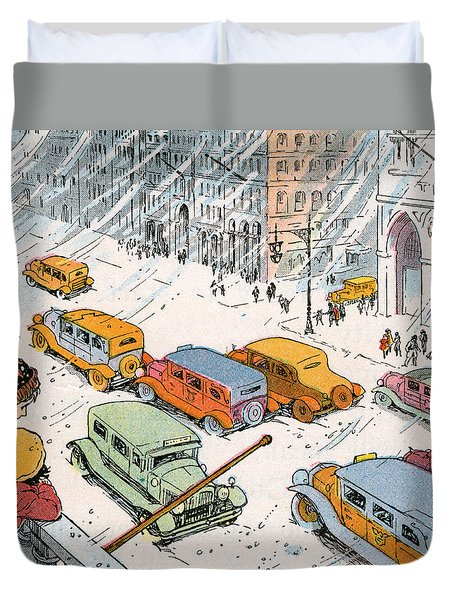 Children Watching City Traffic In A Snowstorm Duvet Cover