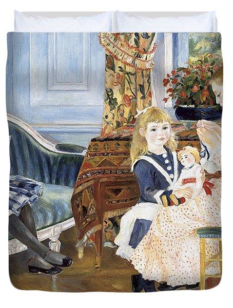 Children's Afternoon At Wargemont Duvet Cover by Pierre Auguste Renoir