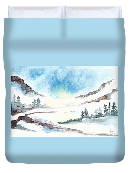 Children's Book Illustration Of Mountains Duvet Cover