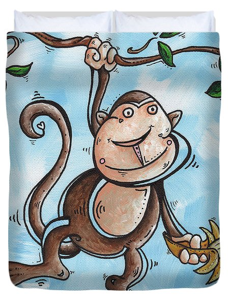 Childrens Whimsical Nursery Art Original Monkey Painting Monkey Buttons By Madart Duvet Cover by Megan Duncanson