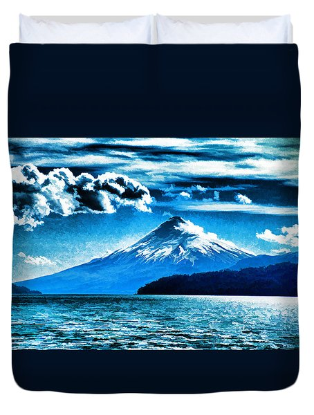 Chilean Volcano Duvet Cover by Dennis Cox
