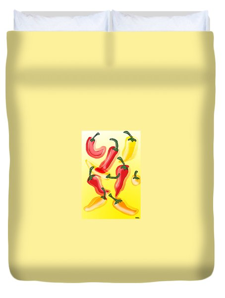 Chiles En El Sol Duvet Cover by Antonio Romero