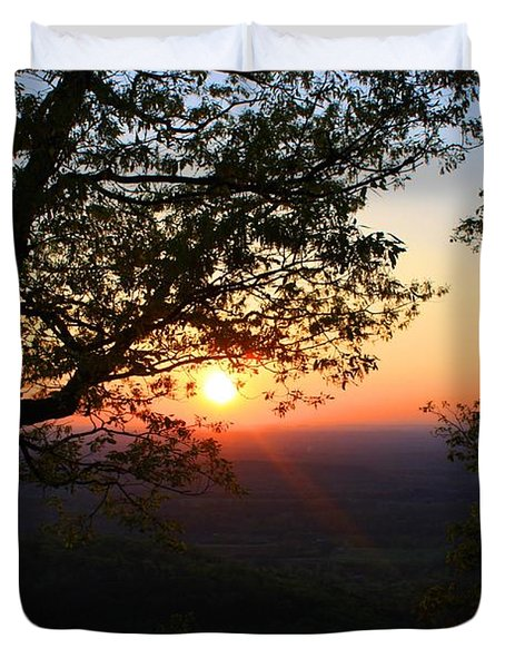 Duvet Cover featuring the photograph Chilhowee Sunset by Kathryn Meyer