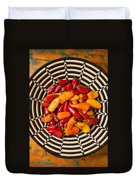 Chili Peppers In Basket  Duvet Cover by Garry Gay