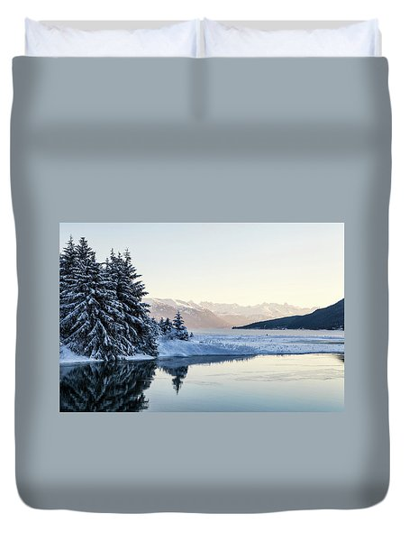 Chilkoot Inlet In Winter Duvet Cover