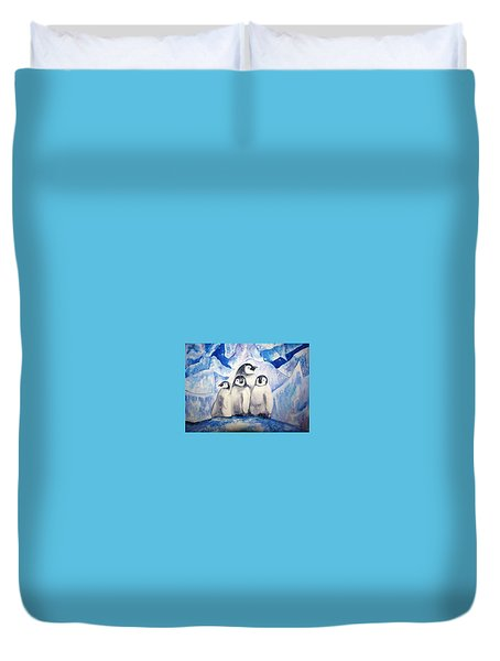 Duvet Cover featuring the painting Chill Out by Martha Ayotte