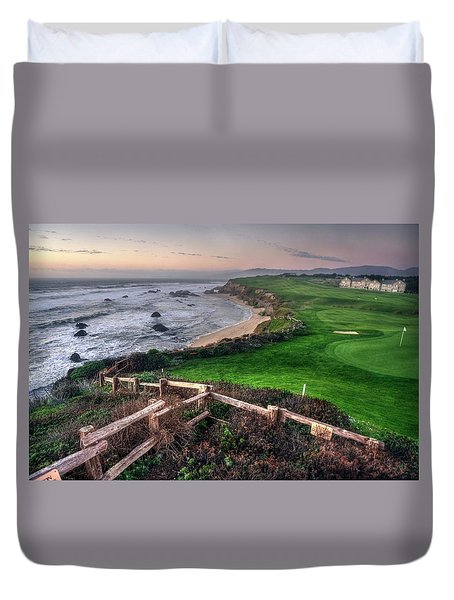 Duvet Cover featuring the photograph Chilling At Half Moon Bay by Peter Thoeny