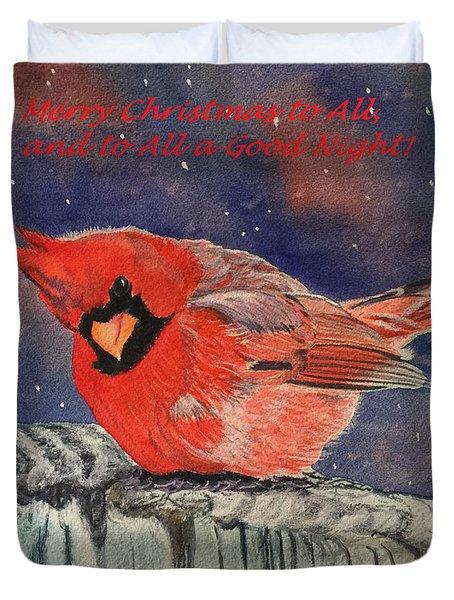 Chilly Bird Christmas Card Duvet Cover