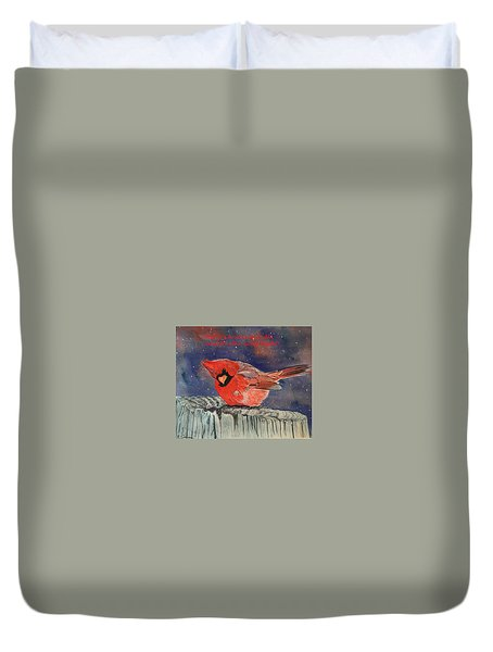 Chilly Bird Christmas Card Duvet Cover