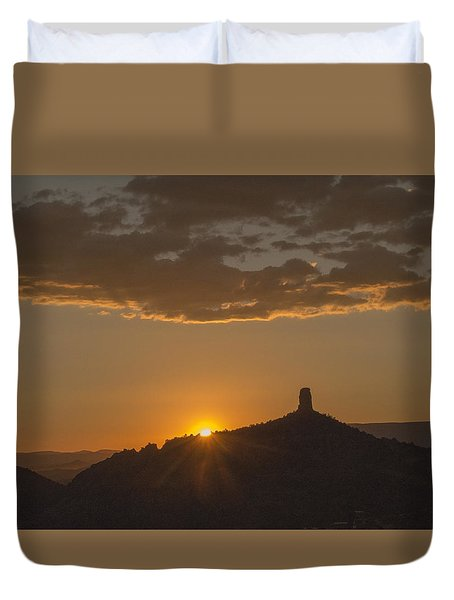 Chimney Rock Sunset Duvet Cover by Laura Pratt