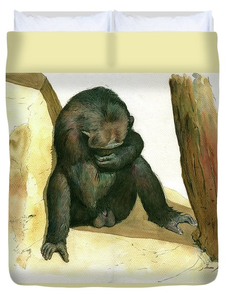 Chimp Duvet Cover by Juan Bosco