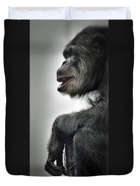 Chimpanzee Profile Vignetee Effect Duvet Cover