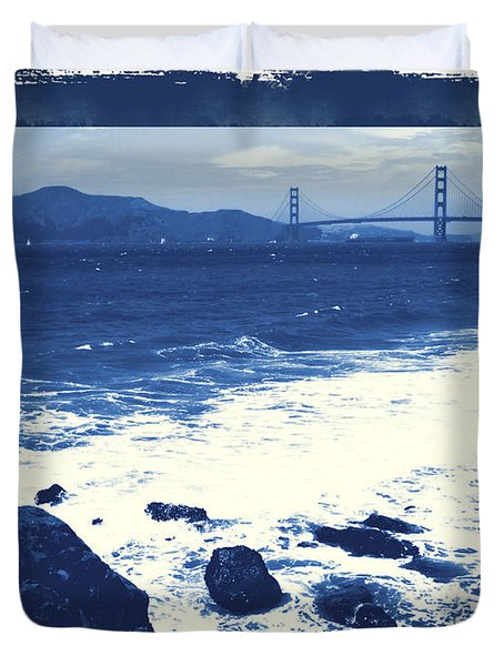 China Beach And Golden Gate Bridge With Blue Tones Duvet Cover by Carol Groenen