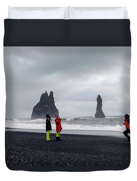 Duvet Cover featuring the photograph China's Tourists In Reynisfjara Black Sand Beach, Iceland by Dubi Roman