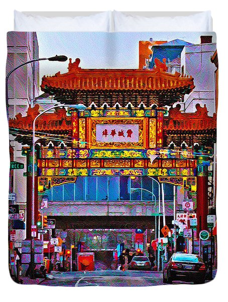 Chinatown Arch Philadelphia Duvet Cover by Bill Cannon