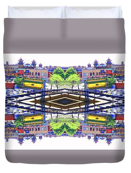 Chinatown Chicago 3 Duvet Cover by Marianne Dow