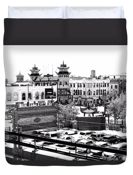 Chinatown Chicago 4 Duvet Cover by Marianne Dow