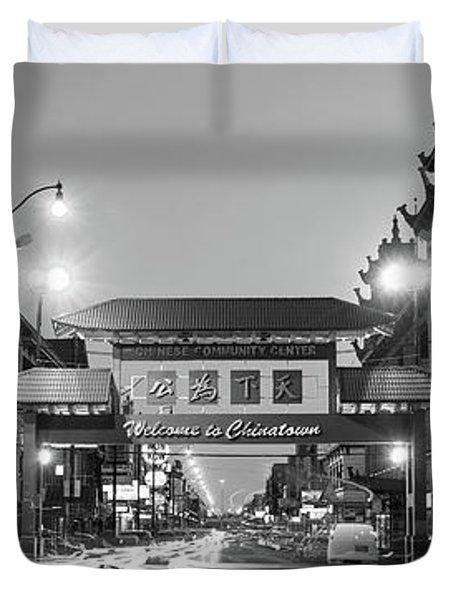 Chinatown Chicago Bw Duvet Cover