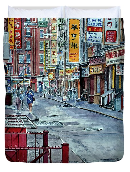 Chinatown, Nyc Duvet Cover