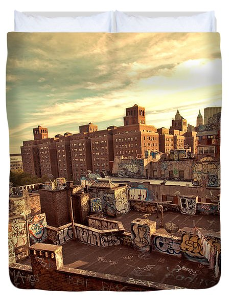 Chinatown Rooftop Graffiti And The Brooklyn Bridge - New York City Duvet Cover by Vivienne Gucwa