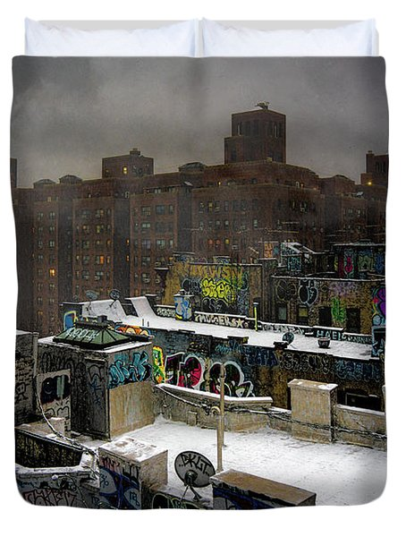 Duvet Cover featuring the photograph Chinatown Rooftops In Winter by Chris Lord
