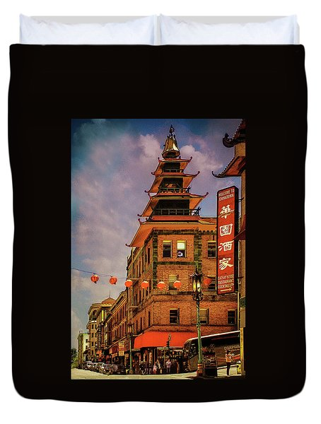 Chinatown San Francisco Duvet Cover