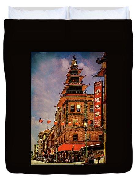 Chinatown San Francisco Duvet Cover