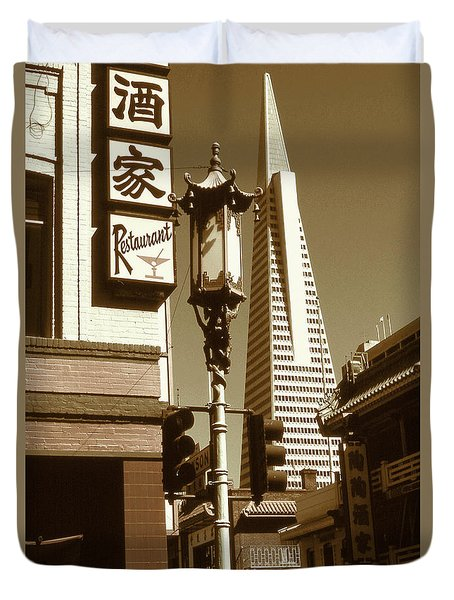 San Francisco Chinatown And Pyramid Duvet Cover