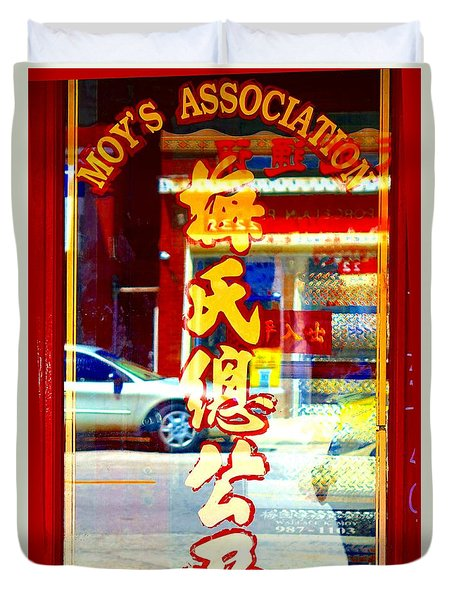 Duvet Cover featuring the photograph Chinatown Window Reflection 1 by Marianne Dow